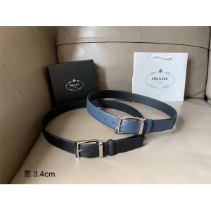 PRADA普拉达中文官网原单高仿奢侈品网男士皮带Saffiano皮革针扣3.4CM腰带