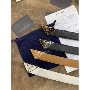 PRADA普拉达官网代购女士皮带Saffiano十字纹皮革3.0CM腰带