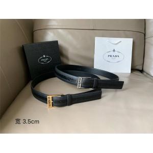 prada中国官网普拉达正品男士皮带Saffiano皮革拼鳄鱼纹3.5CM腰带