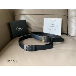 prada香港官网普拉达代购新款男士皮带双面平纹牛皮3.5CM腰带
