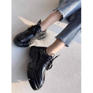 prada美国官网普拉达女鞋货源厚底松糕鞋增高鞋Monolith德比鞋皮鞋