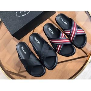 prada鞋子男鞋价格普拉达官网新款男士皮革和尼龙凉鞋拖鞋2X3032