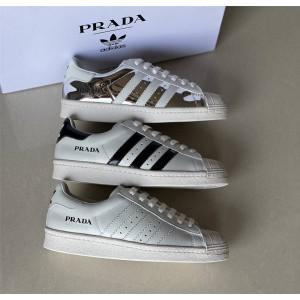 普拉达Prada for Adidas官网联名款情侣男女同款Superstar皮革运动鞋2EG320