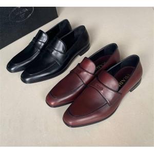 prada法国官网普拉达男鞋高端奢华小牛皮莫卡辛鞋商务皮鞋2DC192