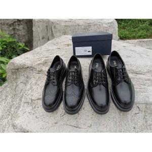 PRADA香港官网普拉达男鞋布洛克皮鞋厚底亮面皮革系带德比鞋2EE312/2EE311