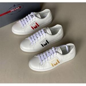 PRADA专柜官网正品普拉达男鞋新款真皮小白鞋皮革运动鞋4E3544