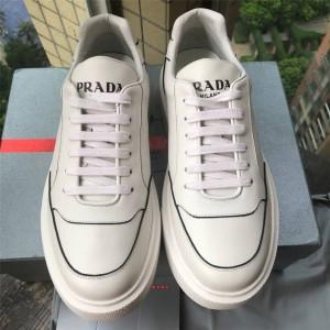 PRADA普拉达中国官网奢侈品专卖正品男鞋系带皮革运动鞋厚底小白鞋4E3453