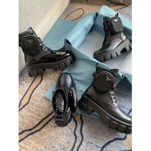 PRADA普拉达中文官网新款正品女靴军旅风Rois 皮革和尼龙德比靴短靴1T255M
