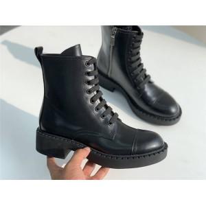 prada美国官网普拉达代购女靴亮面皮革系带短靴切尔西靴1T360M