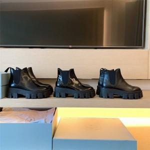 prada旗舰店普拉达官网代购新款女靴真皮Monolith 漆皮短靴裸靴1T725L