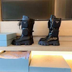 PRADA普拉达官网正品代购女靴军旅风战靴亮面Rois 皮革和尼龙靴中靴1W257M
