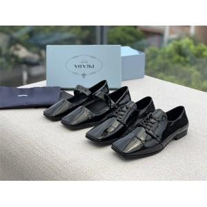PRADA普拉达官网正品原单女鞋漆皮复古玛丽珍鞋方头单鞋平底乐福鞋小皮鞋