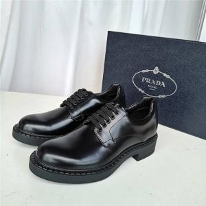 PRADA普拉达中国官网正品男鞋厚底增高商务皮鞋亮面皮革德比鞋2EE345