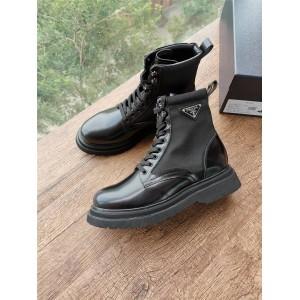 PRADA正品普拉达官网男靴男士亮面皮革和尼龙军靴短靴2UE011