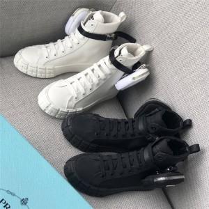 PRADA普拉达官方网站Wheel Re-Nylon再生尼龙高帮运动鞋板鞋2TG174/1T551M