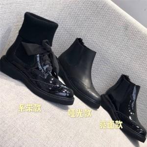 prada香港官网普拉达正品女靴真皮布洛克雕花厚底切尔西靴袜子短靴