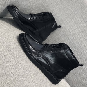 prada香港官网普拉达正品新款英伦风男鞋真皮系带高帮短靴
