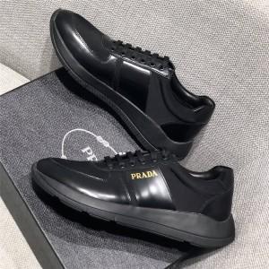 prada美国官网普拉达代购男鞋男士真皮拼接织物运动鞋休闲鞋