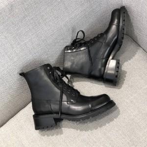 prada官网中文官网普拉达原单新款女靴女士真皮系带切尔西短靴