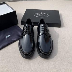 prada香港官网普拉达正品新款男鞋亮面牛皮系带厚底休闲鞋皮鞋