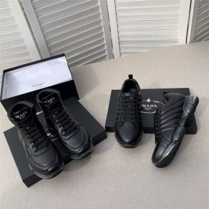 prada鞋子男鞋价格普拉达官网真皮系带气垫高帮运动鞋休闲鞋