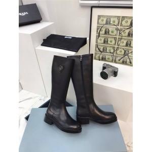 prada鞋子普拉达代购官网正品价格新款女靴真皮高筒长靴