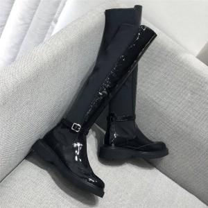 prada女鞋普拉达官网新款女靴尼龙拼接漆皮长靴马丁靴