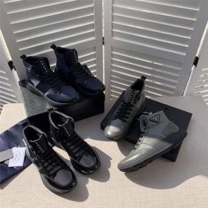 香港prada折扣店普拉达正品经典三角标拼接厚底高帮鞋运动休闲男鞋