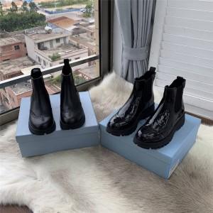 prada美国官网普拉达正品女靴一脚蹬布洛克雕花切尔西短靴