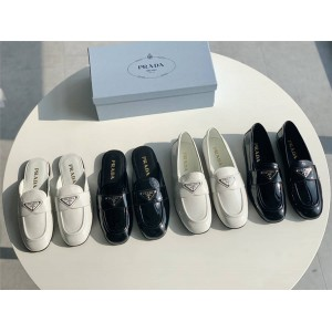 PRADA正品普拉达中国官网新款女鞋漆皮乐福鞋半拖鞋1D262M