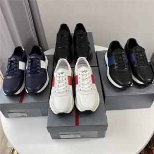 香港prada折扣店普拉达官网新款男鞋皮革和尼龙运动鞋4E3463