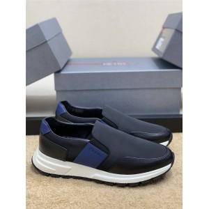 prada法国官网普拉达正品一脚蹬皮革和尼龙运动鞋4D3516