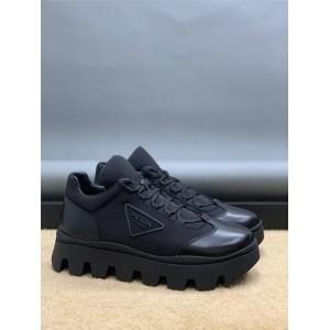 prada中文官网普拉达代购新款男鞋厚底尼龙和皮革德比鞋