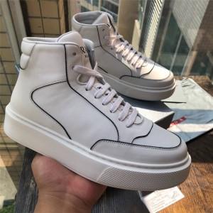 prada普拉达官网正品新款男鞋男士真皮高帮运动鞋小白鞋