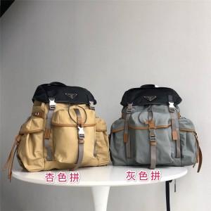 prada官网网站普拉达奢侈品代购网男士双肩包新款尼龙拼皮背包2VZ074