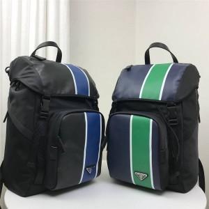 prada官网网站普拉达男士背包代购拼色条纹织物和皮革双肩包2VZ135