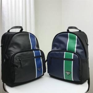 prada官方网站普拉达男士高仿双肩包新款真皮拼色条纹拼皮背包书包2VZ066