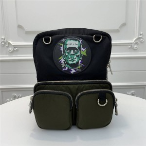 prada法国官网普拉达男士双肩包海外代购网站科学怪人印花织物背包2VZ043