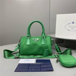 prada香港官网普拉达品牌代购正品女包新款hyper leaves三合一尼龙波士顿枕头包1BB846