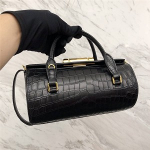 prada包包价格普拉达奢侈品包包网站鳄鱼纹Sybille手袋圆筒手提包1BA216