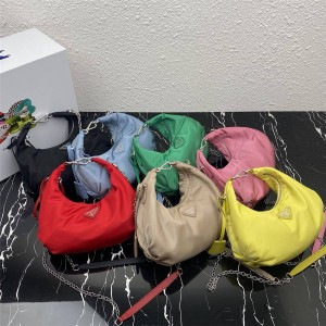 prada旗舰店普拉达世界奢侈品新款女包尼龙腋下包Hobo云朵包1BH172