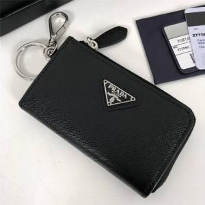 普拉达prada官网正品新款真皮Saffiano 皮革钥匙包1TT085