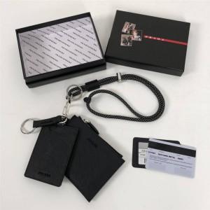 prada意大利官网普拉达新款挂脖三合一挂绳式钥匙包证件夹卡夹卡包1TT087