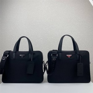 PRADA官网普拉达价位新款尼龙和Saffiano皮革单肩公文包2VE368