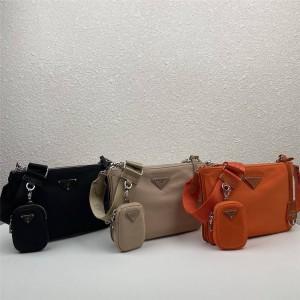 PRADA普拉达官网原单Re-Edition 2000 尼龙和Saffiano 皮革手袋1BH046