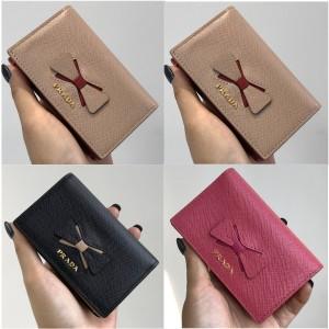 prada官网普拉达乐天代购新款女士短款钱包蝴蝶结两折卡包