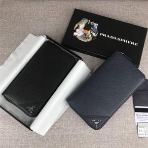 香港prada折扣店普拉达美国代购网站男士大号拉链钱包长款钱夹2ML188