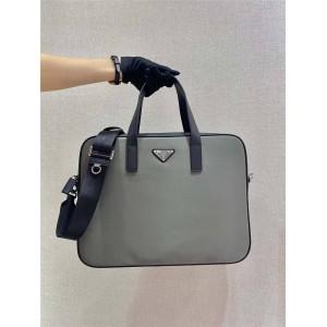 prada包包价格表普拉达官网男士尼龙和Saffiano皮革单肩公文包灰色2VE368