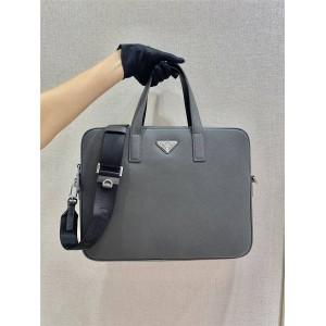 奢侈品prada普拉达官网男士新款红标Saffiano皮革商务公文包灰色2VE368