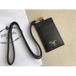 PRADA官网普拉达男包专柜价格Saffiano皮革证章夹挂脖卡包卡片夹1MC007